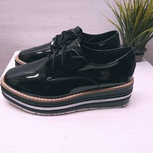 Clearance Patent Leather Flat Platform shoes